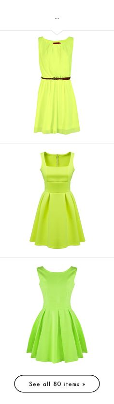 """..."" by patricia019 ❤ liked on Polyvore featuring dresses, vestidos, braid dress, woven dress, green dress, neon green dress, belted dress, green, slim fitting dresses and sleeveless pleated dress"