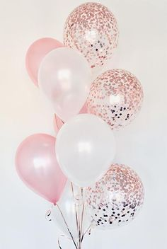 Pearl White & Blush with Rose Gold Confetti Balloons Bouquet Bickiboo Designs - Pearl White & Rose Gold Confetti Balloon Bouquet delivery in Brisbane Gold Confetti Balloons, White Balloons, Latex Balloons, Glitter Balloons, 21st Balloons, Baby Shower Balloons, Balloon In A Balloon, 21 Birthday Balloons, Helium Balloons