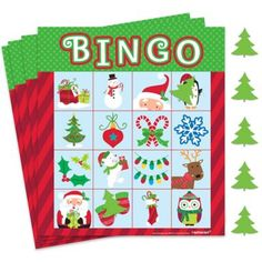 """This Christmas Bingo Game is just like the classic version but with a holiday twist. The first one to make a line with the Christmas tree markers and yells """"Bingo"""" wins at this fun family game! Christmas Bingo Game, Christmas Party Games For Kids, School Christmas Party, Xmas Games, Holiday Party Games, Kids Party Games, Christmas Fun, Holiday Fun, Christmas Games For Preschoolers"""