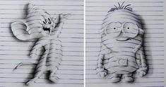 """Artist Joao Carvalho, a.k.a. J Desenhos, draws notebook pages, which might seem boring until you see how he manages to twist and turn these notebook pages into amazing 3D drawings. And he's only 15 years old! Carvalho bends the blue """"notebook lines"""" that he draws across the page and then adds shading to complete his drawings."""