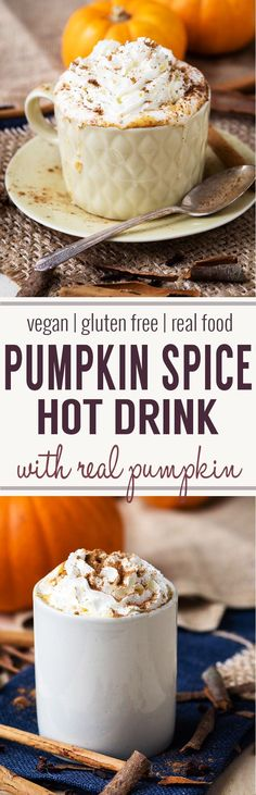 Hot Pumpkin Spice Drink - made with real pumpkins! Gluten-free with vegan and dairy-free options. Make this drink recipe this fall. A warm drink that is also a coffee alternative.