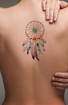 Watercolor Dreamcatcher Back Tattoo ideas for Women - Popular Feminine Beautiful Small Spine Tat for Teenagers -  Pluma de acuarela Ideas de tatuaje de espalda para mujeres - www.MyBodiArt.com #tattoos