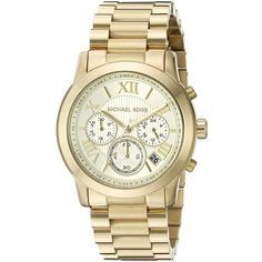Michael Kors Cooper Analog Display Analog Quartz Gold Watch ($250) ❤ liked on Polyvore featuring jewelry, watches, analog watches, gold wristwatches, yellow gold bracelet, bracelet watches and michael kors jewelry