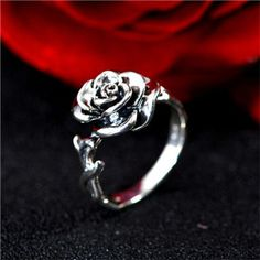 vintage sterling silver rose promise ring for her
