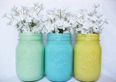 Pastel Mason Jars Mason Jar Set Painted by TheCraftyEngineerx, $15.00