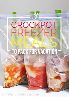 Want to save time and money at the beach and NOT eat out every night? Make these crockpot freezer meals at home and take them with you!