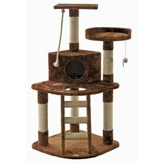 Provide your feline friend with hours of entertainment using this cat tree furniture from Go Pet Club. The furry cat tree features several platforms that your cat can run, jump and play on, a ladder for climbing, and a dangling rope to bat at.