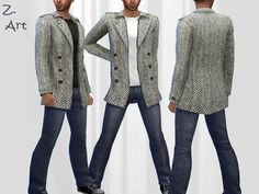 A trendy combination of casual shirt, jeans and a long jacket with fishbone pattern :D  Found in TSR Category 'Sims 4 Male Everyday'