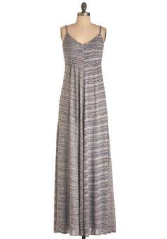 Flow and Steady Dress - Long, Stripes, Maxi, Spaghetti Straps, Casual, Boho, Tan / Cream
