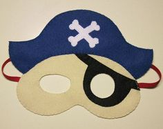 Pirate felt mask boy girl - black blue red - childrens costume Birthday party gift Handmade soft Dress up play accessory Diy For Kids, Crafts For Kids, Costume Birthday Parties, Diy Carnival, Felt Mask, Stitch Pictures, Kids Dress Up, Gifts For Teens, Mask For Kids