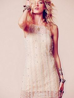 Embellished Shift Dress by Free People           This would be great for a Gatsby party.