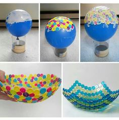 Here is another DIY project to make a button bowl out of a balloon. Isn't that unique and cute? Simply inflate the Button Bowl