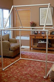 Have families donate PVC pipes, elbows, 3-joints, etc. Cut pipes to various lengths.This is great to have in building station.Children can work together to create cubbies, etc. Great way to learn concepts of math, use of physical space, problem solving strategies, etc. Can use scarves to cover structure.