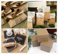 mariage rustique cadeaux invités boite dragees kraft sac papier kraft dessous verre ardoise