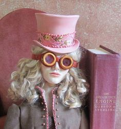 DIY doll accessories....Steampunk Angie, polymer clay hat & goggles mylittlebigchair at Etsy.