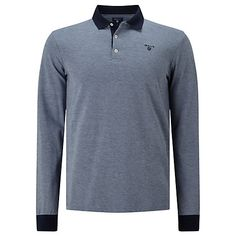 Buy Gant Oxford Pique Rugger Long Sleeve Rugby Top, Marine Online at…
