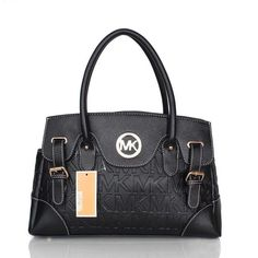 Michael Kors Logo Signature Medium Black Satchels Outlet