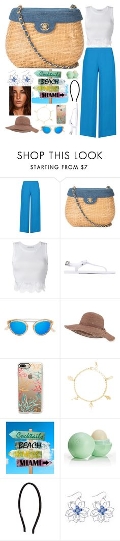 """straw bag"" by rrnth ❤ liked on Polyvore featuring Emilio Pucci, Chanel, Alberta Ferretti, Philipp Plein, Westward Leaning, Helen Kaminski, Casetify, Eos and Witchery"