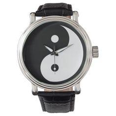 yin-yang black/white taoist wrist watch
