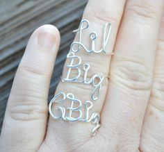 Grand Big, Big and Little Word Ring, Rings 1 G Big, 1 Big and 1 Lil Sorority Set Wire Word Rings Non Tarnish Silver Plated Wire