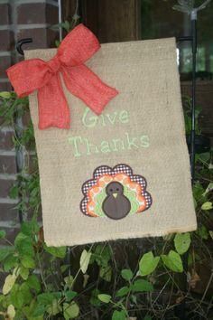 Personalized Thanksgiving Turkey Burlap Garden Flag on Etsy, $22.00