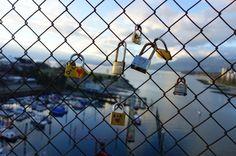 Love locks Burrard Bridge Vancouver