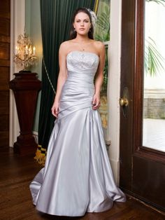 Fit & Flare Strapless Beaded Bustline Pleated Bodice Satin Wedding Dress-wf0072, $259.95