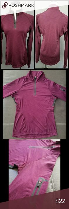REI WOMENS L/S LIGHT WEIGHT 1/3 ZIP-UP PULLOVER REI WOMEN'S SIZE SMALL FITTED LONGSLEEVE PURPLE, GRAY 1/3 ZIP UP PULLOVER ZIPPERED POCKET ON LEFT SLEEVE GREAT CONDITION  THANK YOU FOR SHOPPING! REI Tops Sweatshirts & Hoodies