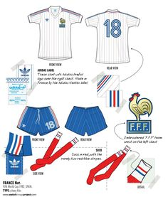 France away kit for the 1982 World Cup Finals. Fifa Football, Football Uniforms, Adidas Football, Football Kits, Football Cards, Football Players, Football Reference, 1982 World Cup, Sport Shirt Design