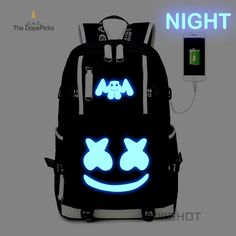WISHOT Marshmello Backpack multifunction USB charging backpa for teenagers Men women's Student School Bags travel Luminous Bag Source by charlie_smoca Bags travel Pretty Backpacks, Cheap Backpacks, Dj Marshmello, Marshmello Helmet, Marshmallow Halloween, Marshmello Wallpapers, Shoe Room, Fun Questions To Ask, Rolling Backpack