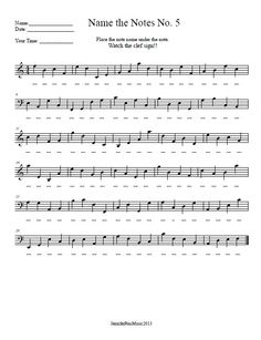 Treble Clef Note Recognition – Worksheet | Music Worksheets ...