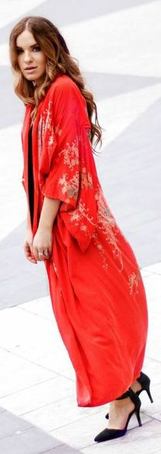Gina Tricot Red Gorgeous Long Line Japanese Print Kimono