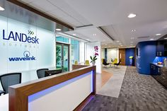 """LANDesk Software recently appointed Area Sq for the design and fit-out of their new 15,000 sq ft office in Bracknell, Berkshire. The company used the relocation to """"create a dynamic client-facing space as well as an inspiring workplace"""
