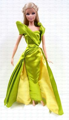 Barbie New Fashion Model Muse Lime Green Evening Gown Dress Doll Clothes #Disney: