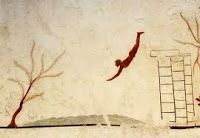 Fresco from the Tomb of the Diver: Paestum, in southern Italy. A remarkable and rare example of Greek painting. Ancient Greek Art, Ancient Greece, Ancient History, Fresco, Greek Paintings, Classical Period, Classical Greece, Old Art, Ancient Civilizations