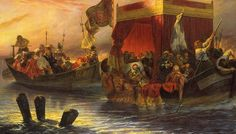 The State Barge of Cardinal Richelieu on the Rhone Paul Delaroche