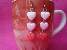 Original Handmade Soft Pink Coloured Hearts Earrings polymer Clay Fashion