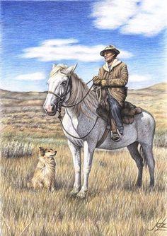 Cowboy in Montana von Arts & Dogs by Nicole Zeug auf DaWanda.com