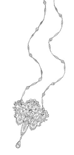Belle Epoque Platinum, Diamond and Pearl Pendant-Brooch with Platinum and Diamond Chain   The delicate openwork mount of stylized garland motif, centering one old European-cut diamond approximately 2.60 cts., set throughout with 84 old European-cut diamonds approximately 1.95 cts., suspending one pearl approximately 4.0 mm., completed by a filigree navette-shaped link chain spaced by 14 old-mine cut diamonds approximately 1.40 cts., circa 1905