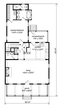 Looking for the best house plans? Check out the Bellamy Place plan from Southern Living. Narrow Lot House Plans, Small House Floor Plans, Cottage Floor Plans, Lake House Plans, Cottage House Plans, Best House Plans, Dream House Plans, Small House Living, Southern Living House Plans