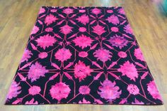 Wool & Silk 4'10 x 7′ – Black with Hot pink design. Perfect condition! - #hotpink #floral #decorator #interiordesign #designideas #pink #rugs #overdyed