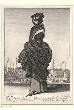 Invierno: Mujer con capucha de piel y manguito de piel de The Four Seasons 1643 grabado Wenceslaus Hollar