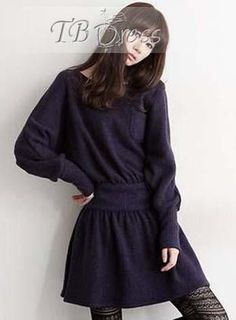 Fashion Korean Style Long Sleeve Knit Sweater Dress