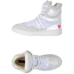 Katie Grand Loves Hogan High-tops & Trainers ($325) ❤ liked on Polyvore featuring shoes, sneakers, white, round toe sneakers, white shoes, high top shoes, hogan sneakers and white flat sneakers