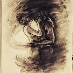 Charcoal drawing depicting the pain and frustration of a long distance relationship. Original art by @memoriesofalion