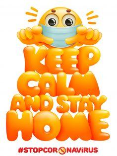 Keep Calm And Stay Home. Coronavirus Self-quarantine Symbol. Emoji Cartoon Character In Mask - check it out - Keep calm and stay home.