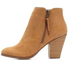 Charlotte Russe Side-Zip Chunky Heel Booties (28 CAD) ❤ liked on Polyvore featuring shoes, boots, ankle booties, heels, ankle boots, zapatos, camel, thick heel booties, faux suede boots and chunky heel boots