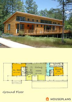 small contemporary house plan by Greg La Vardera.  1400sft 2bedroom 2 bath houseplans plan #431-2