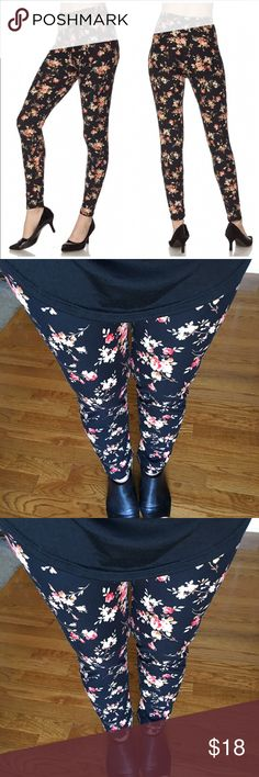 Flower Print Brushed Ankle Leggings Get cozy with this cute and super soft brushed legging, featured in a small Flower print on a black background.  With its smooth, comfortable fit. Wear these with a dressy top and a sexy pair of heels for a classy going out look, or an oversized off-the-shoulder top for a casual day ensemble. Paneled elastic waistband  🌺One size fits most, XS - XL up to size 12 🌺Approx. 27 in. inseam Beach Wave Pants Leggings