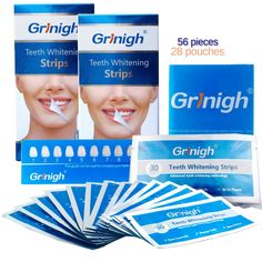 27.89$  Buy here - http://alijs8.shopchina.info/go.php?t=32658647857 - Grinigh 28 Pouches 56 Pcs Dental Teeth Whitening Strips Professional Bleaching Tooth Whitening Products White Tooth Gel strips  #bestbuy